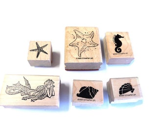 Set of 6 Ocean Life Wood Mounted Rubber Stamps Multi Sized Mermaid Starfish Sea Horse Shells Scrap booking Paper Crafts Takuniquedesigns #2