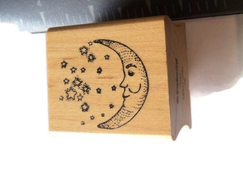 1 Man in the Moon with Stars Celestial Used Wood Mounted Rubber Stamp  Scrap booking Paper Crafts Takuniquedesigns