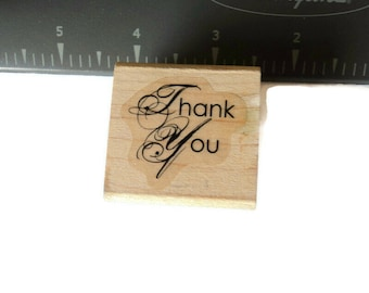 """1 Used Wood Mounted Rubber Stamp """"Thank You"""" Fancy  Scrap booking Paper Crafts Takuniquedesigns"""