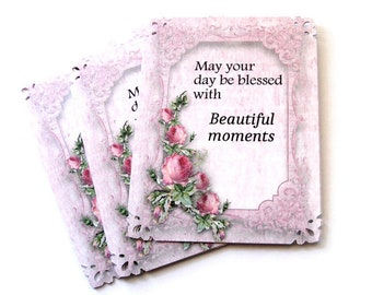"""9 Roses and Frames Inspirational Gift Tags """" May your day be blessed..."""" Party Favor Tags, Merchandise Tags, Takuniquedesigns"""
