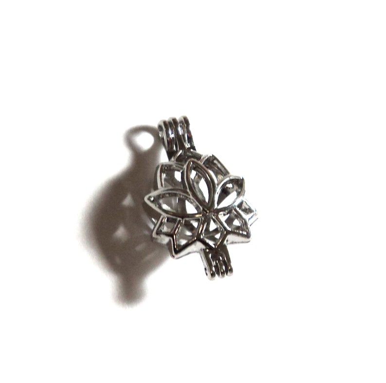 1 Silver Lotus Flower Bead Cage Pendant Focal 265x16mm Diy Etsy