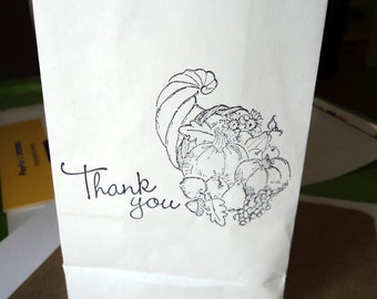"""6 White Paper Sacks  6.5"""" x 3.5"""" x 2"""" Fall Gift Bags Thank You Cornucopia Stamped Black Ink Takuniquedesigns"""