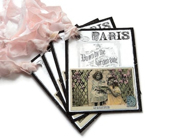 9 Paris Down by the Garden Gate Gift Tags Shabby Chic Vintage Look Hang Tags  Merchandise Tags Party Favor Tags  handmade Takuniquedesigns