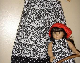 black-white damask and polka dots  pillowcase dress with matching American Girl Doll dress (sizes xsmall to medium)