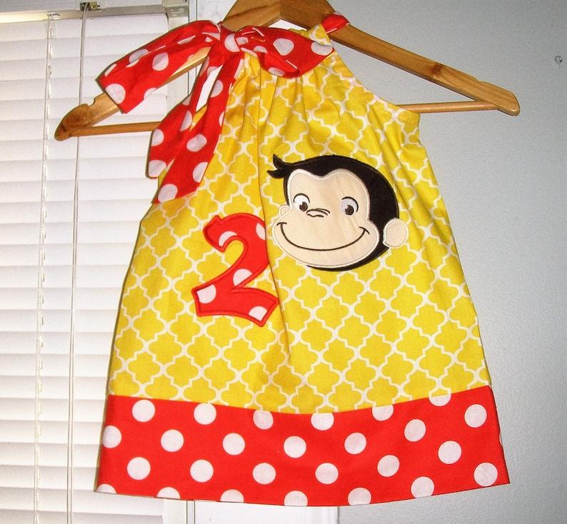Birthday Dress 3t,4t 5t,6,7,8,10 George dress Curious George Curious George dress yellow applique pillowcase dress 3 6,9,12 18 month 2t