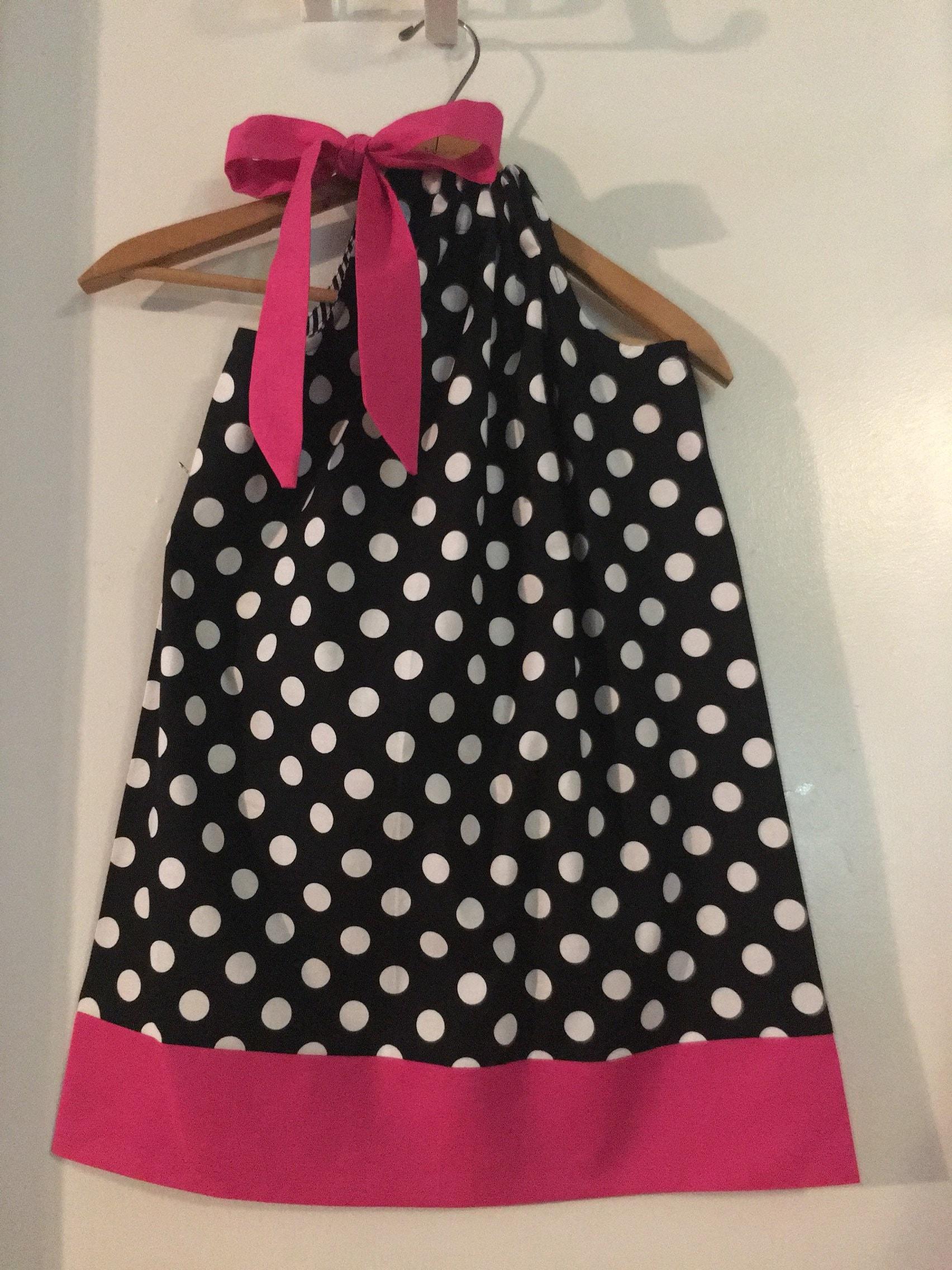 3e2224a65661 Black dots dress Pink back dress Polka dots dress | Etsy