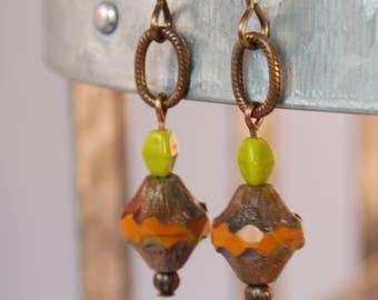 funky artsy orange avocado Czech glass natural brass earrings by CURRICULM