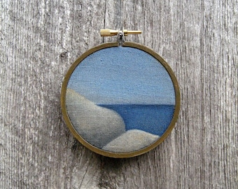 """Rock and Pool 3"""" tiny watercolor painting on linen"""