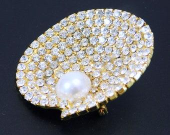 c3ed462ef Rhinestone Pearl Brooch, Rhinestone Shell Brooch, Eisenberg Ice Jewelry, VIntage  Rhinestone Jewelry