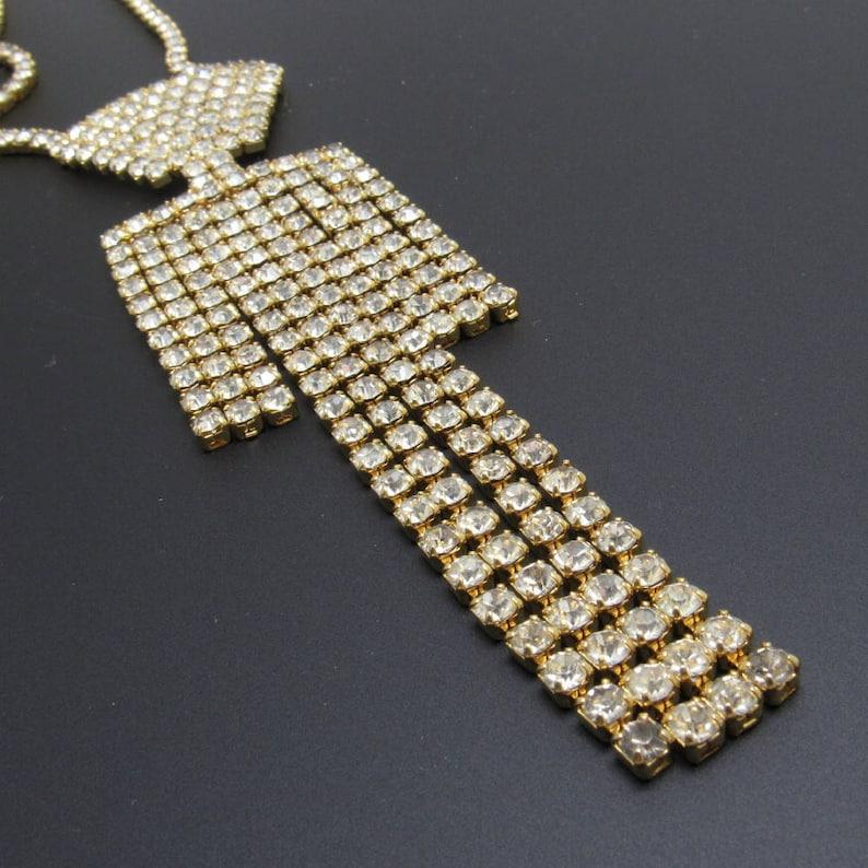Vintage Long Rhinestone Tie Pendant Necklace Jewelry
