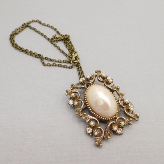 Vintage Pendant Brooch, Pearl Rhinestone Pendant,… - image 9