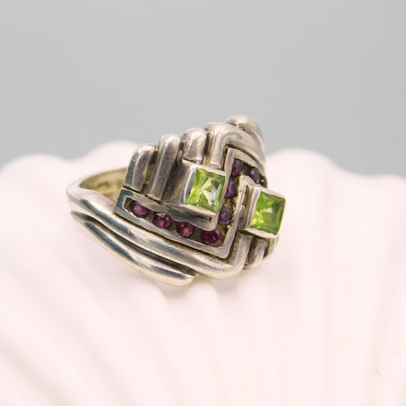 Vintage Sterling Chevron Ring, Sterling Peridot a… - image 2