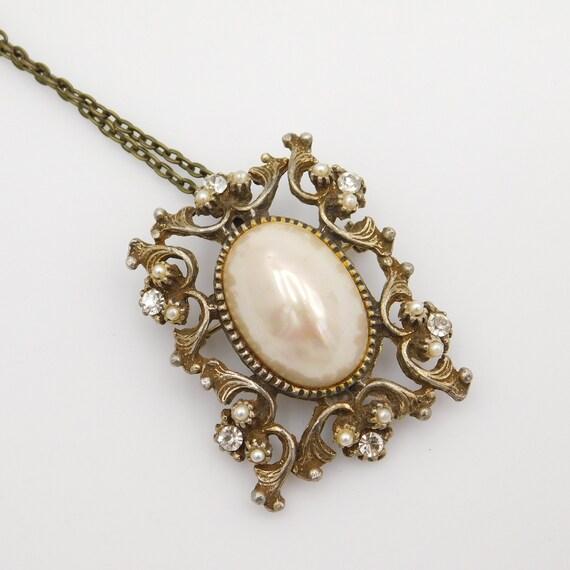 Vintage Pendant Brooch, Pearl Rhinestone Pendant,… - image 2