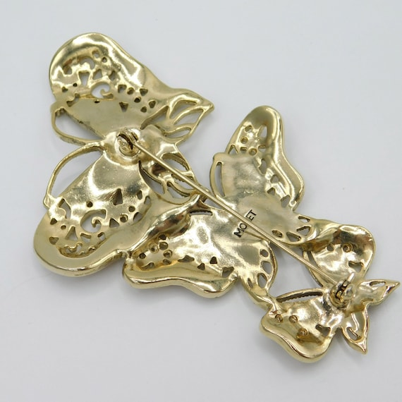 Large Butterfly Trio Brooch, Vintage Monet Brooch… - image 4
