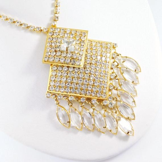 Fringed Rhinestone Necklace, Fringed Pendant, Rhi… - image 2