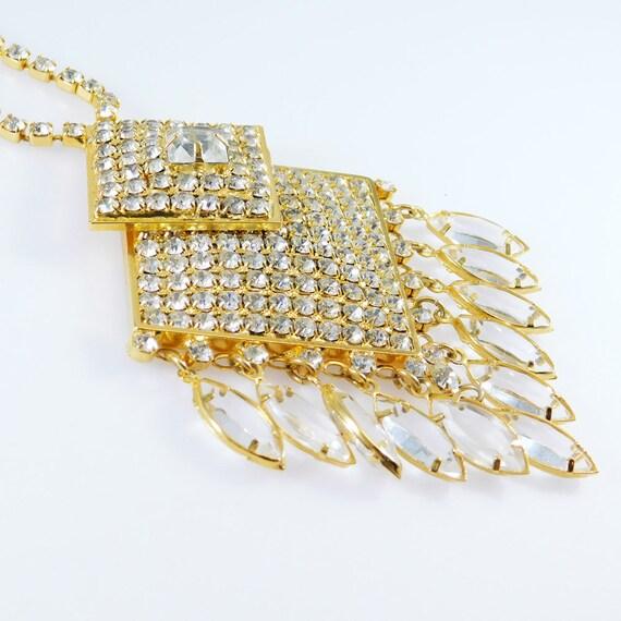Fringed Rhinestone Necklace, Fringed Pendant, Rhi… - image 9