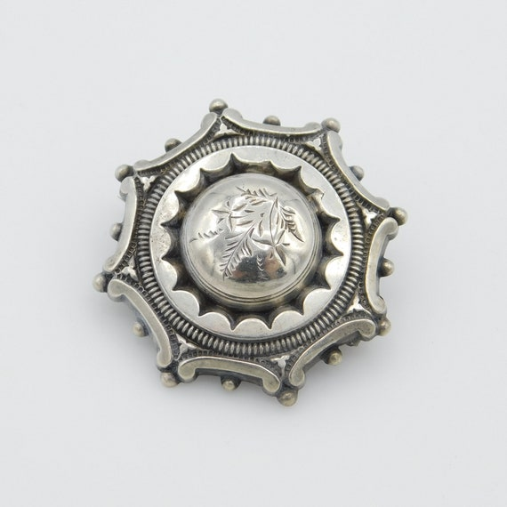 Antique Sterling Mourning Brooch, Victorian Sterli