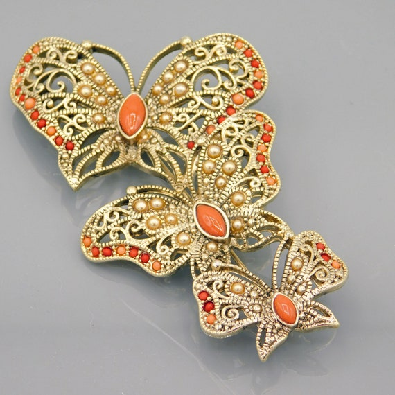 Large Butterfly Trio Brooch, Vintage Monet Brooch… - image 1