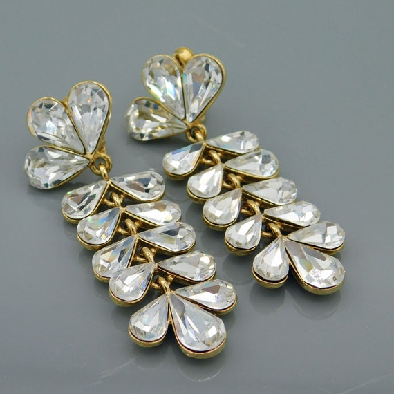 Vintage Napier Crystal Earrings, Long Crystal Earr