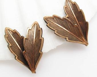 Copper Leaf Earrings, Vintage Clip On Earrings, Bell Trading Jewelry, Vintage Leaf Earrings, Mid-Century Copper Jewelry