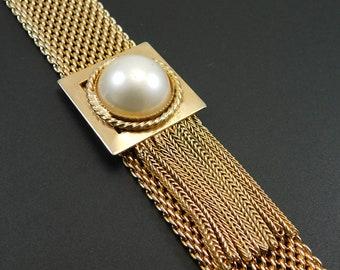 Mesh Tassel Bracelet Vintage Pearl Jewelry