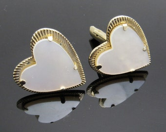 Vintage Heart Cufflinks Mother of Pearl Jewelry Accessories