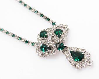 Green Rhinestone Pendant, Rhinestone Necklace, Vintage Rhinestone Jewelry, Long Rhinestone Pendant, Vintage Jewelry