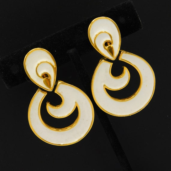 Long Trifari Earrings, White Enamel Earrings, Uniq