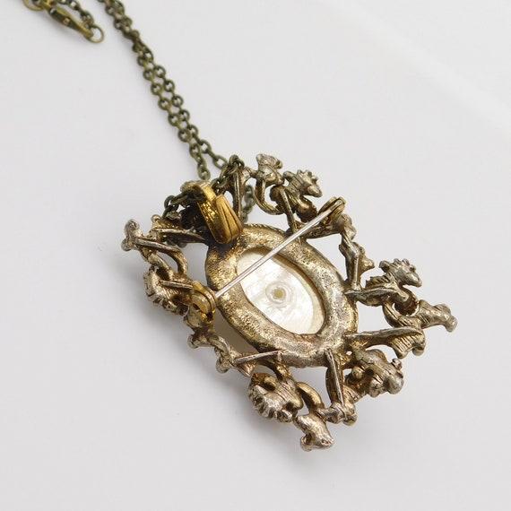 Vintage Pendant Brooch, Pearl Rhinestone Pendant,… - image 7