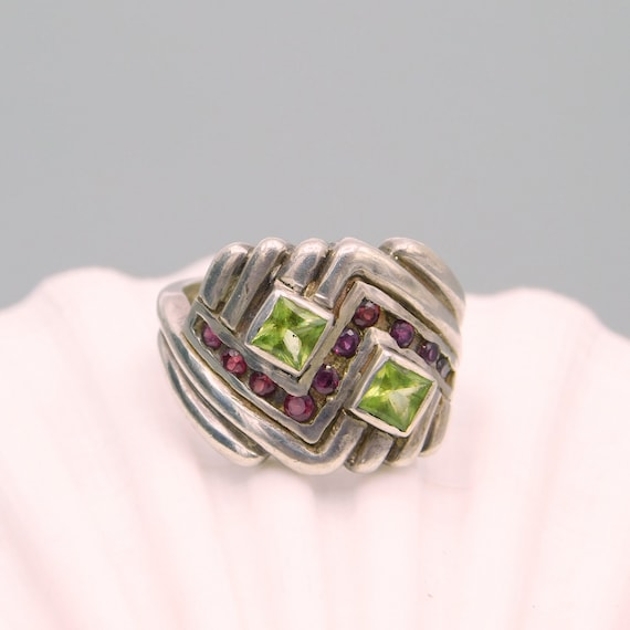 Vintage Sterling Chevron Ring, Sterling Peridot a… - image 3
