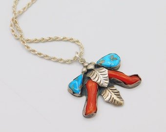 Vintage Sterling Turquoise Coral Pendant, Native American Pendant, L Platero Jewelry, Sterling Necklace, Turquoise and Coral