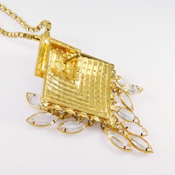 Fringed Rhinestone Necklace, Fringed Pendant, Rhi… - image 7