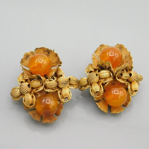 Vintage Miriam Haskell Clip on Earrings, Amber Gla