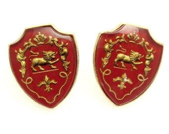 Vintage Coat of Arms Cufflinks, Heraldic Jewelry, Reverse Painted Crystal, Red Coat of Arms, Big Shield Cufflinks, Heraldic Cufflinks