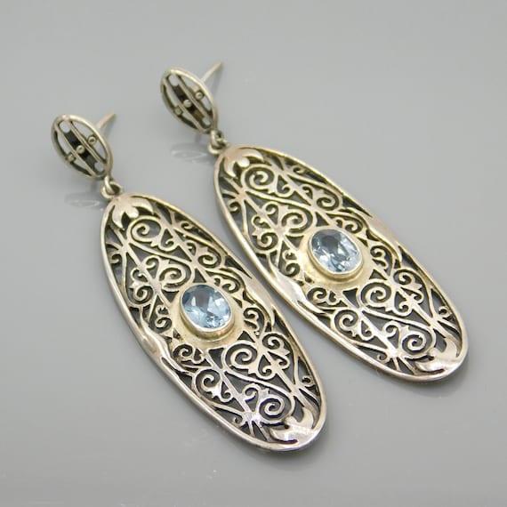 Long Sterling Blue Topaz Earrings, Open Metal Work