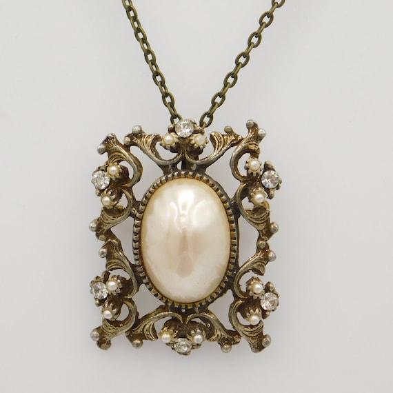 Vintage Pendant Brooch, Pearl Rhinestone Pendant,… - image 1