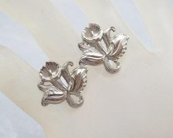 Sterling Orchid Earrings, Vintage Sterling Earrings, Screw on Sterling Earrings, Vintage Bridal Jewelry, Vintage Flower Jewelry