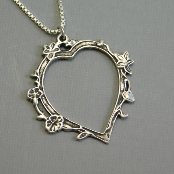 Vintage Sterling Heart Pendant Necklace Flower Jewelry