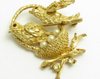 Birds in a Nest Brooch Rhinestone Pearl Vintage Jewelry