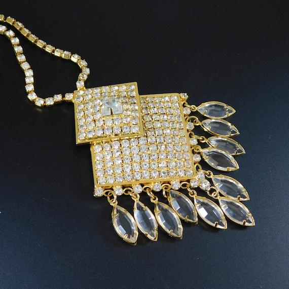Fringed Rhinestone Necklace, Fringed Pendant, Rhin