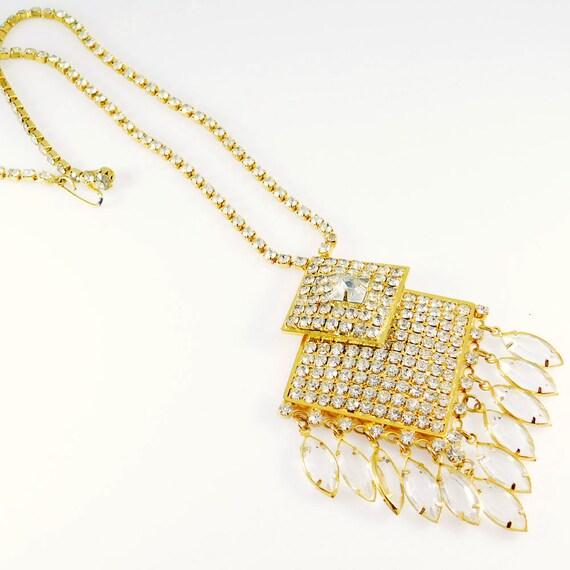 Fringed Rhinestone Necklace, Fringed Pendant, Rhi… - image 8