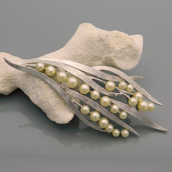 Large Pearl Brooch, Trifari Pearl Brooch, Unique … - image 1