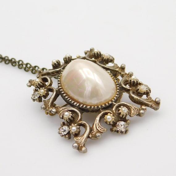 Vintage Pendant Brooch, Pearl Rhinestone Pendant,… - image 5