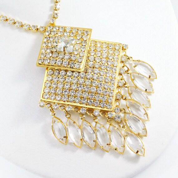 Fringed Rhinestone Necklace, Fringed Pendant, Rhi… - image 6
