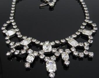Vintage Rhinestone Bib Necklace Bridal Jewelry