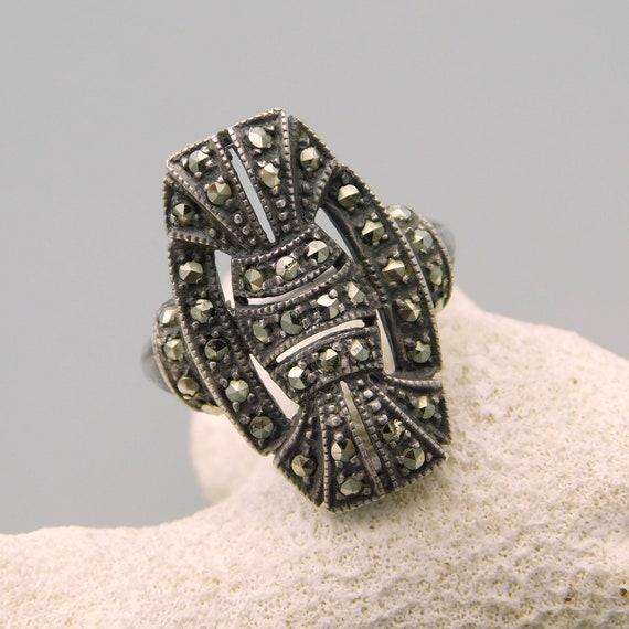 Art Deco Sterling Silver Ring, Antique Deco Ring,