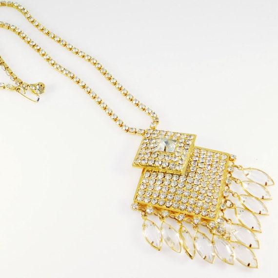 Fringed Rhinestone Necklace, Fringed Pendant, Rhi… - image 5