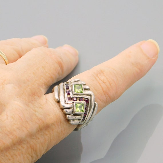 Vintage Sterling Chevron Ring, Sterling Peridot a… - image 5
