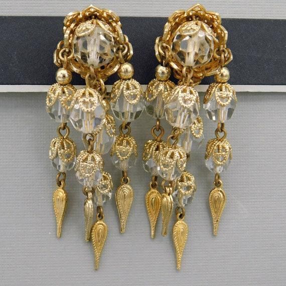 Vintage Napier Earrings, Dangly Long Earrings, Cry