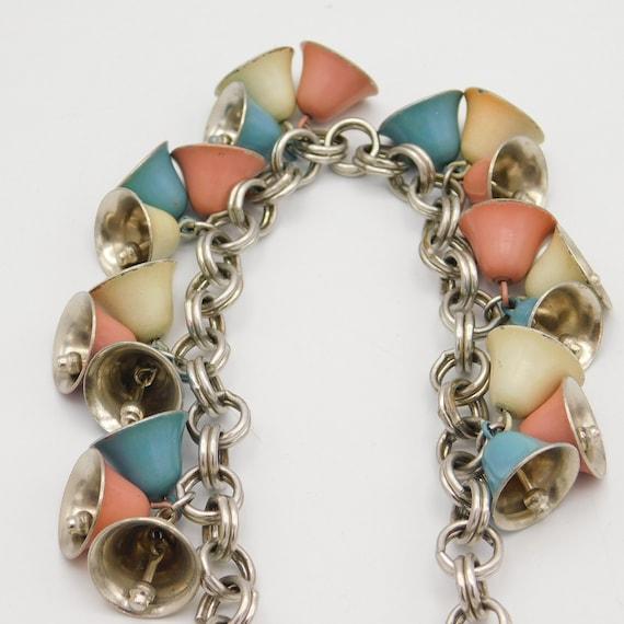 Vintage Monet Bell Necklace, Enamel Bell Necklace,